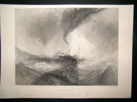 After Turner 1861 Antique Print, Snow-Storm, Maritime, Art Journal